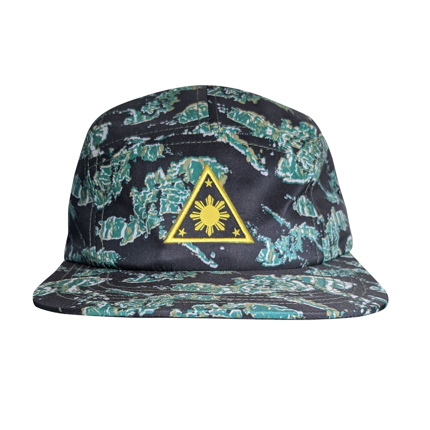 Triangle Sun 5 Panel Strapback Hat - Philippine Island Tiger Camo