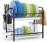 Dish Drying Rack with Drainboards - 2 Tier (Black)