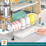Dish Drying Rack with Drain Board - 2 Tier (Silver)