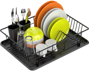 Dish Rack and Drainboard Set - Black