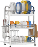 Dish Drying Rack with Drainboard - 3 Tier (Silver)