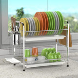 Dish Drying Rack with Drainboards - 2 Tier (Silver)