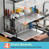 Dish Drying Rack with Drainboard - 3 Tier (Black)