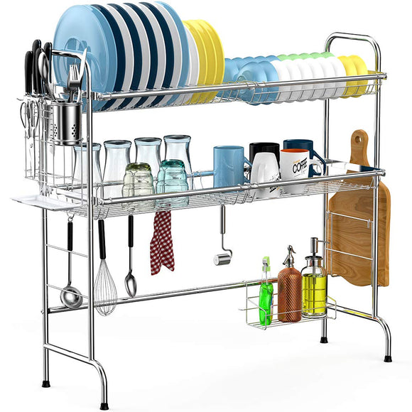 dish drying rack over the sink