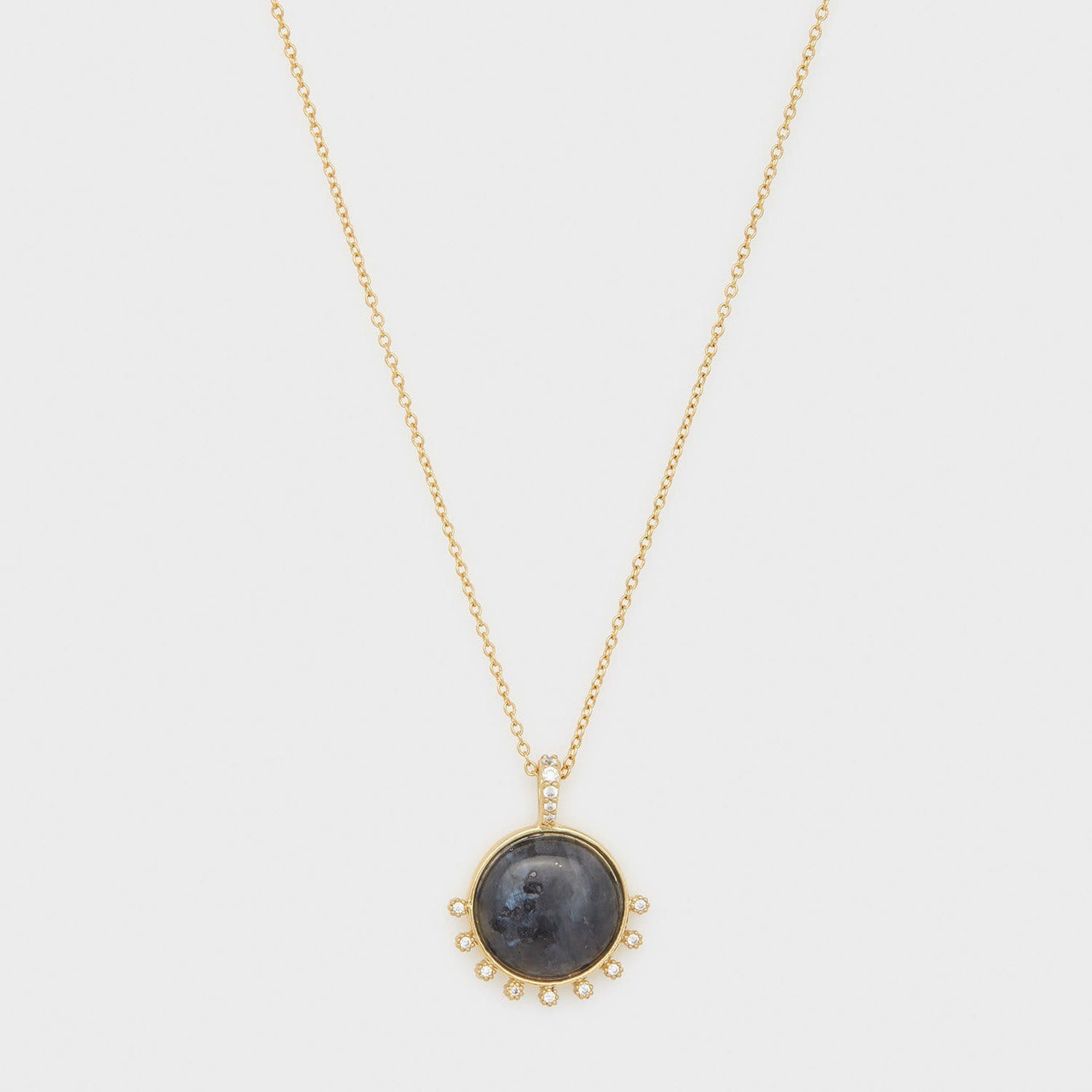 Eloise Gem Necklace Black Labradorite