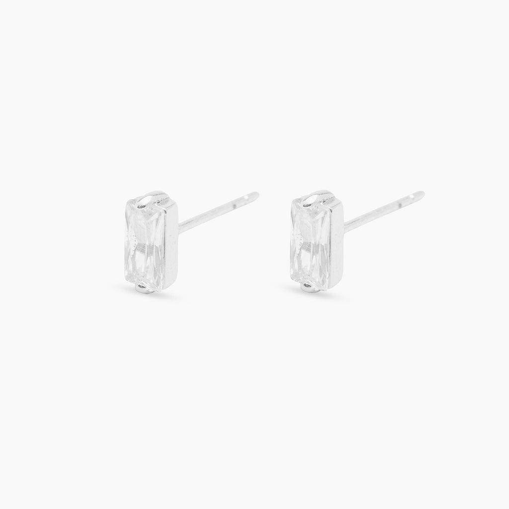 Silver | Gorjana Jewelry gold solitaire earrings, simple diamond earrings
