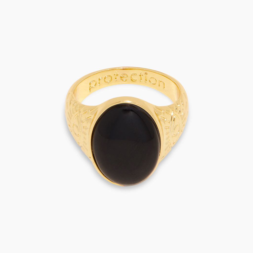 Gold | gorjana jewelry | Power Gemstone Mantra Ring for Protection
