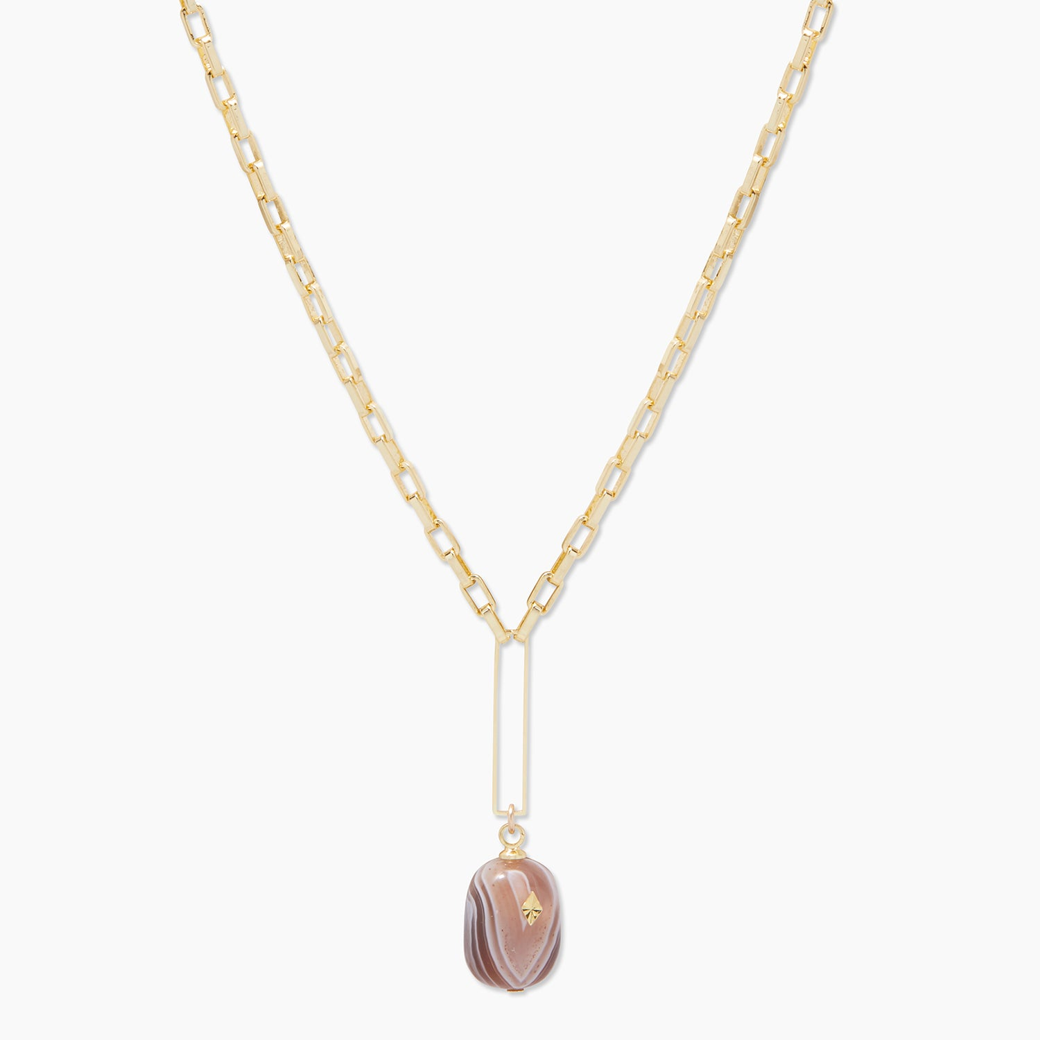 Gorjana ALICE GEM PENDANT NECKLACE IN GOLD PLATED BRASS, WOMEN'S IN GOLD/GREY AND BLACK BOTSWANA AGATE BY GO