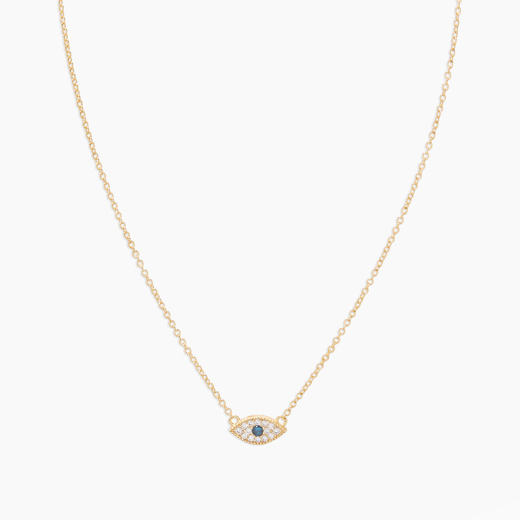 White CZ / London Blue Nanogem | gorjana jewelry | Evil Eye Charm Necklace