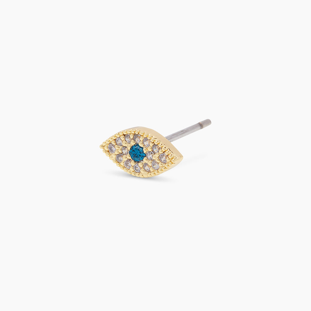 Gold | gorjana jewelry | Evil Eye Charm Stud