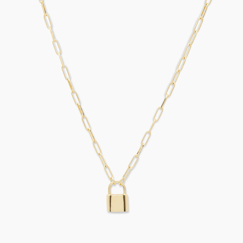 Gold | gorjana jewelry | Kara Padlock Charm Necklace