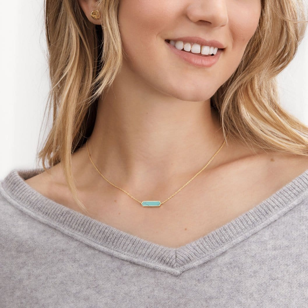 Corina Charm Necklace (Green Turquoise)