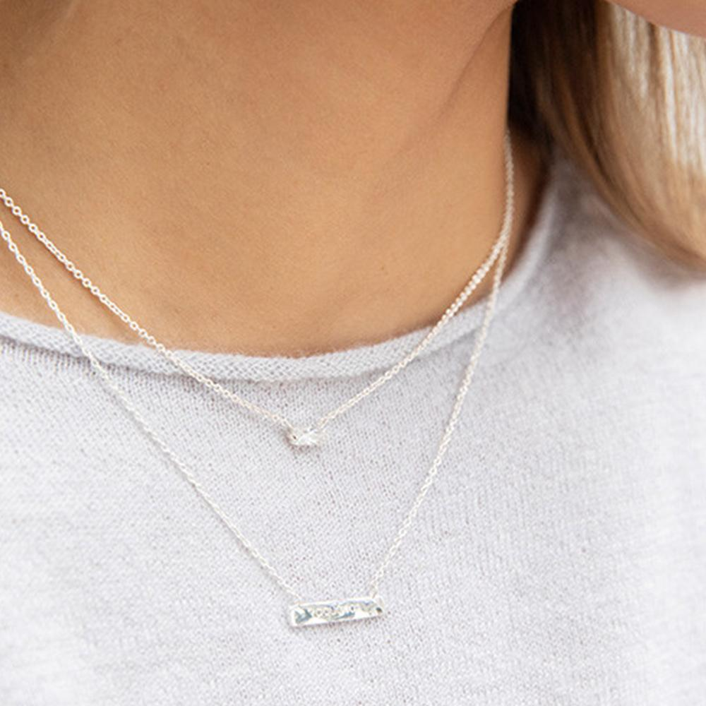 Gorjana Jewelry Silver Amara Solitaire Necklace, baguette necklace, solitaire diamond necklace, bridal jewelry, bridesmaid necklace, wedding day jewelry, wedding necklace, bridesmaid gifts, gift for the bride, wedding day jewelry for the bride, wedding day jewelry for bridesmaids, affordable wedding jewelry, trending bridal jewelry, bride to be necklace, bridesmaid jewelry, gifts for her, affordable gift for her, thoughtful gift for her, jewelry gift for mom