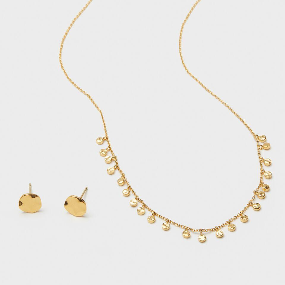 Gorjana Jewelry Chloe Set, Charm Necklace, Circle Stud, Layering Jewelry Set, Necklace Set, Gold Necklace, Gold Studs