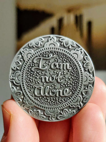 I Am Not Alone Mantra Medallion - Silver