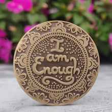 Load image into Gallery viewer, i- am-enough-mantra-medallion-meditation-gift-yoga-retreat-anniversary-gift-for-girlfriend-wife