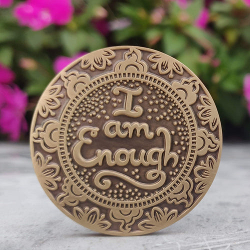 i- am-enough-mantra-medallion-meditation-gift-yoga-retreat-anniversary-gift-for-girlfriend-wife