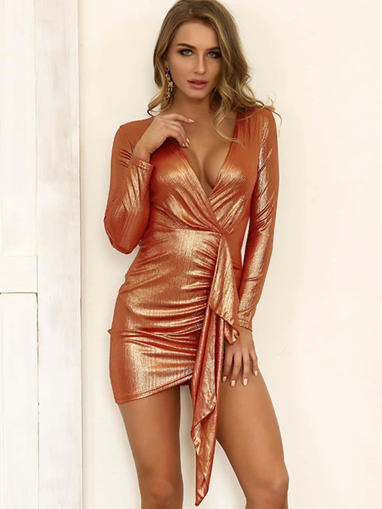 Joyfunear Ruched Detail Metallic Wrap Dress