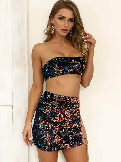 Joyfunear Sequin Bandeau Top & Lace Up Skirt Co-ord