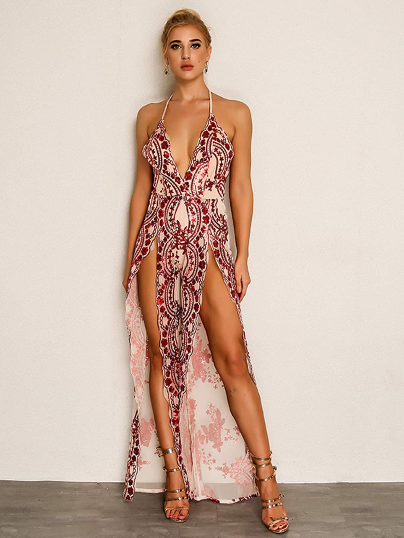 Joyfunear Crisscross Sequin Detail High Split Halter Jumpsuit