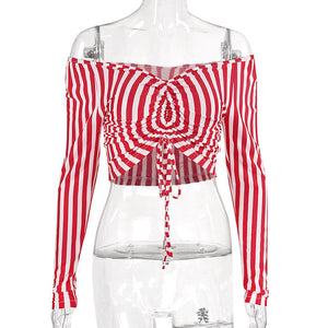 Striped Drawstring Red Crop Tops