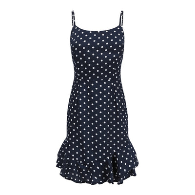 Retro Navy Polka Dots Camis Dress igh Slit Dresses