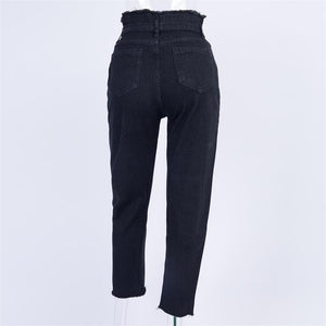 Drawstring Zipper Straight Pencil Jeans