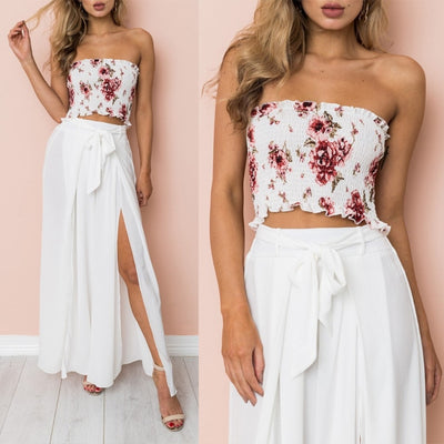 Floral Print Strapless Crop Top