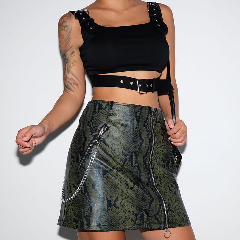Snake Print Sexy Mini Skirt PU High Waist