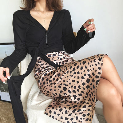 Leopard print high waist skirts