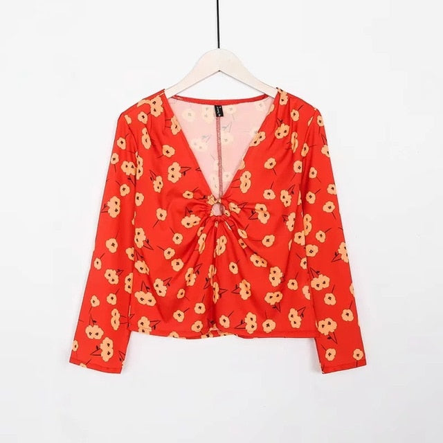 blouses  long sleeve vintage flower print