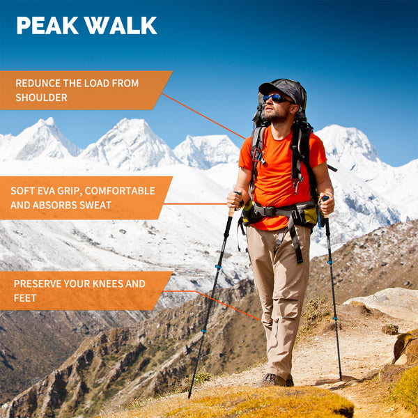 PEAK WALK 3K Carbon Fiber Trekking Poles - Ultra-Light 7.5 oz with Metal Flip-Lock and EVA Foam Grips - FEIERDUN
