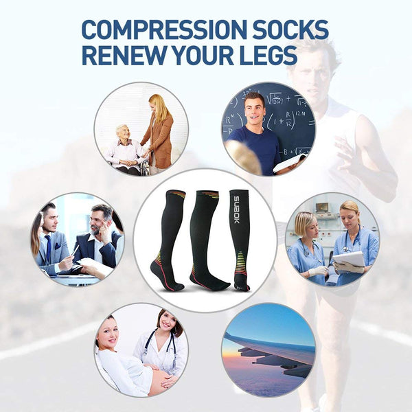 Subok 20mmHg-30mmHg Compression Socks, Green, 1 Pair Small/Medium/Large - FEIERDUN
