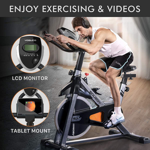 YOSUDA Indoor Cycling Bike Stationary - Cycle Bike with Ipad Mount & Comfortable Seat Cushion - FEIERDUN