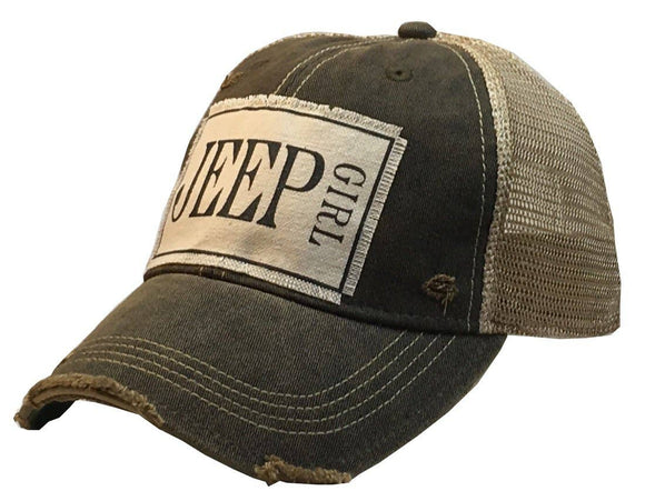 Jeep Girl Distressed Trucker Cap - Black - Hustle & Hunee