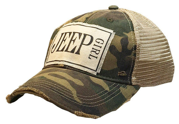 Jeep Girl Distressed Trucker Cap- Camo - Hustle & Hunee