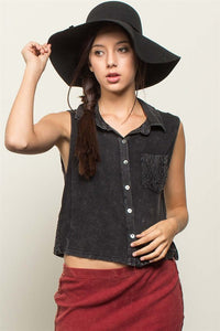 Ladies & Lace - Mineral Wash Crochet Panel Button Up - Hustle & Hunee