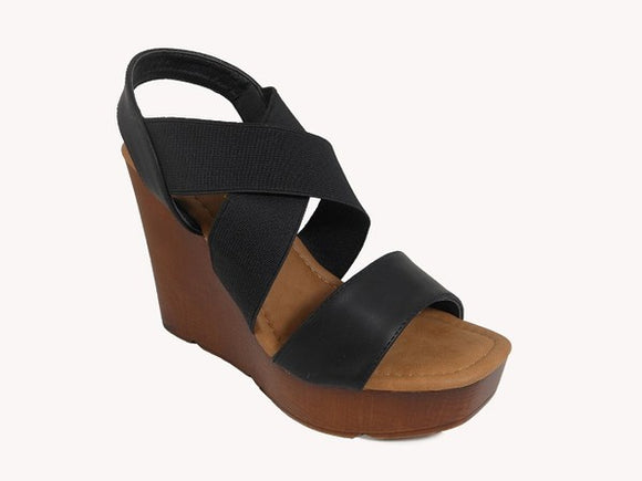 Black Strappy Wedge Sandal - Hustle & Hunee