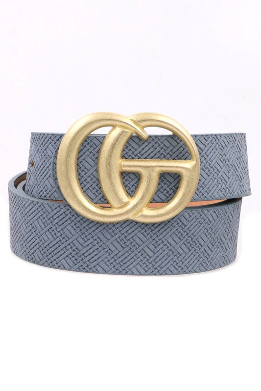 Worn Gold GG Buckle Belt - Blue - Hustle & Hunee