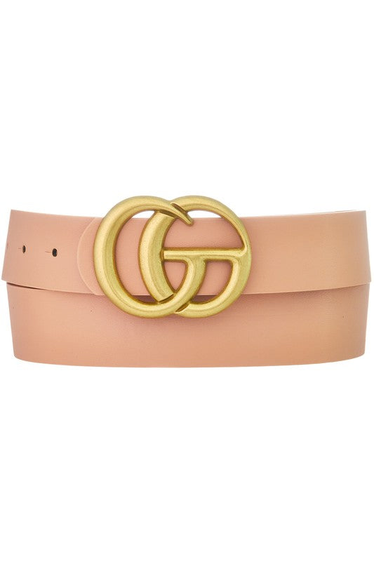 Worn Gold GG Buckle Belt - Blush - Hustle & Hunee