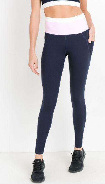 Highwaist Dual Color Leggings - Navy - Hustle & Hunee