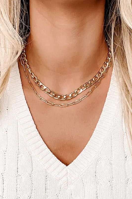 Layered Chain Link Necklace - Hustle & Hunee