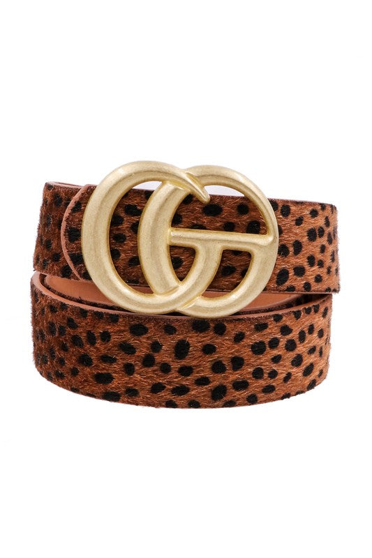 Worn Gold GG Buckle Belt - Animal Print - Hustle & Hunee