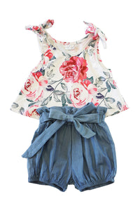 Dreamy -  2pc Girls Floral Summer Outfit - Hustle & Hunee