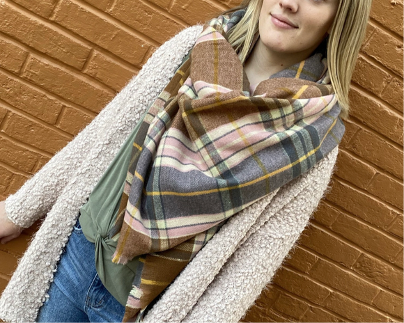 Blush Neutral Plaid Scarf - Hustle & Hunee