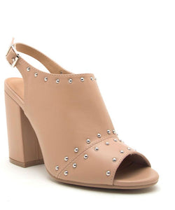 Toffee Studded Open Toe Bootie - Hustle & Hunee