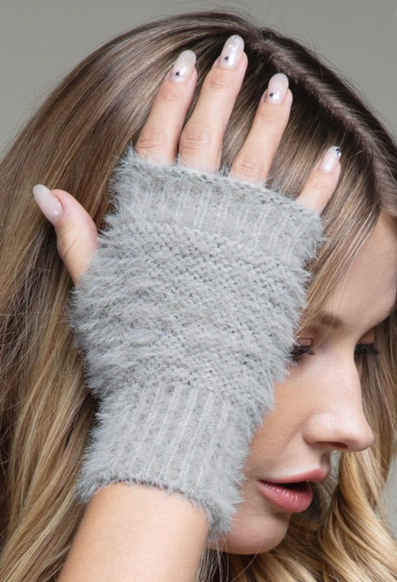 Fuzzy Fingerless Knit Gloves - Hustle & Hunee