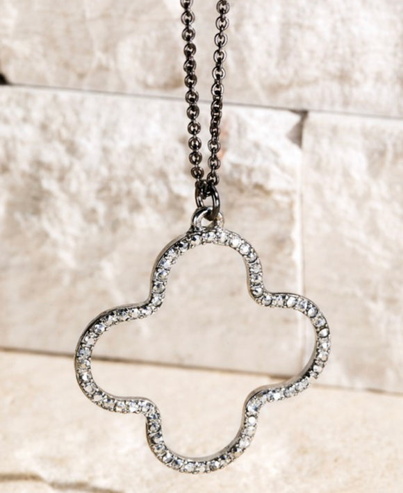 Clover Pavé Crystal Necklace