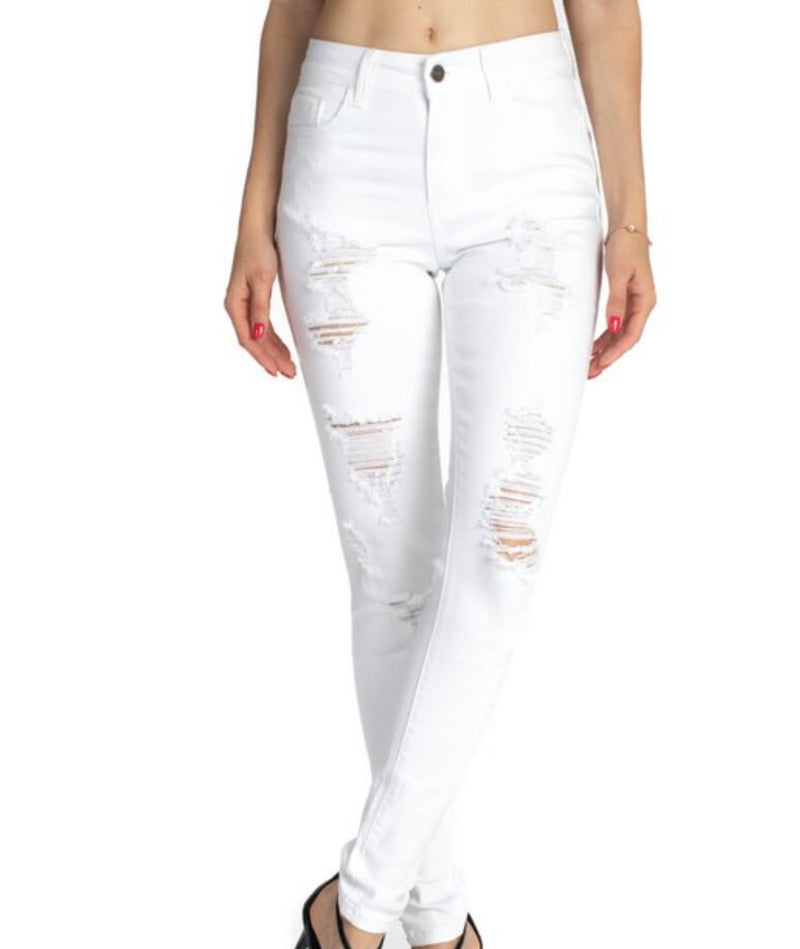 Abigail - White Distressed Denim - Hustle & Hunee