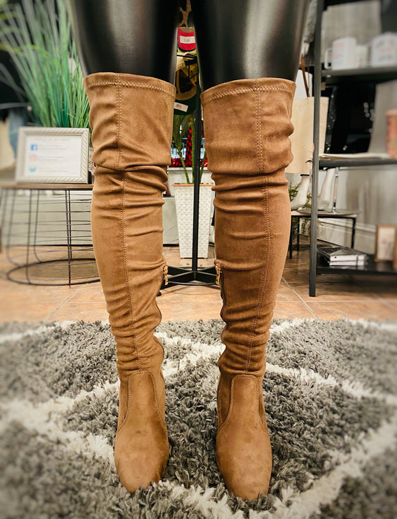 Anesha - Pull On Over the Knee Boots - Taupe - Hustle & Hunee